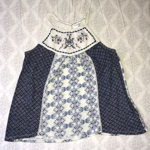 Blue & White Xhilaration Top
